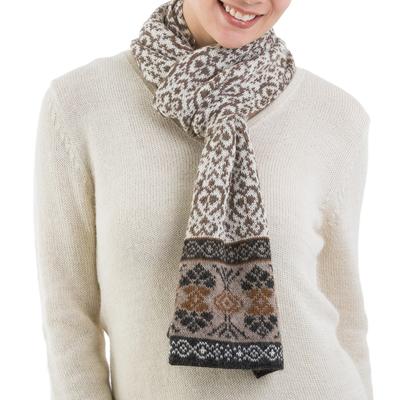 100% alpaca scarf, 'Andean Patterns' - 100% Alpaca Wrap Scarf in Tan and Eggshell from Peru