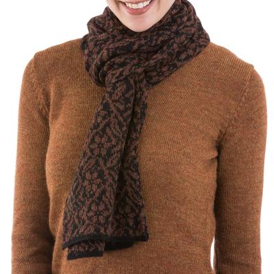 100% alpaca scarf, 'Floral Andes' - 100% Alpaca Knit Floral Wrap Scarf in Black and Brick