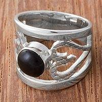 Obsidian cocktail ring, 'Inseparable Love' - Obsidian and Sterling Silver Cocktail Ring from Peru