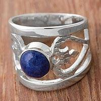 Sodalite cocktail ring, 'Inseparable Love'