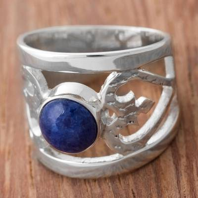 Sodalite cocktail ring, 'Inseparable Love' - Sodalite and Sterling Silver Cocktail Ring from Peru