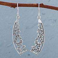 Sterling silver dangle earrings, 'Eden's Garden' - 925 Sterling Silver Leaf Dangle Earrings from Peru