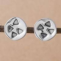 Sterling silver button earrings, 'Modern Triangles' - Triangles on 925 Sterling Silver Button Earrings from Peru