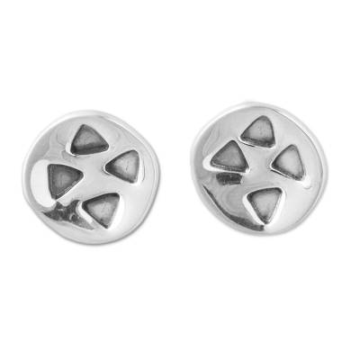 Triangles on 925 Sterling Silver Button Earrings from Peru