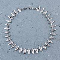Sterling silver link necklace, 'Shining Eyes' - Sterling Silver Eye Shaped Link Necklace from Peru