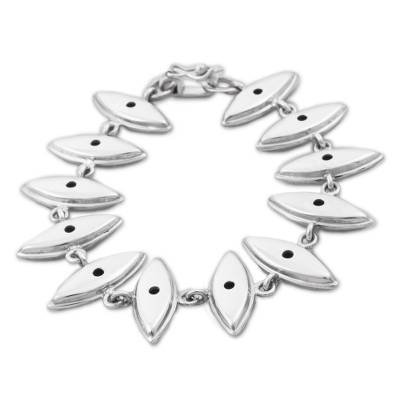 Sterling silver link bracelet, 'Shining Eyes' - Sterling Silver Link Bracelet from Peru