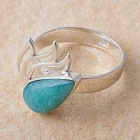 Amazonite cocktail ring, 'Flaming Drop' - Amazonite and Sterling Silver Cocktail Ring from Peru