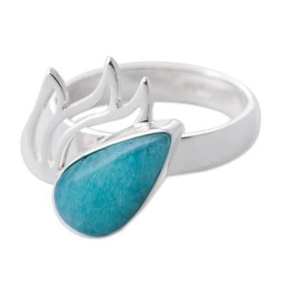 Amazonite and Sterling Silver Cocktail Ring from Peru