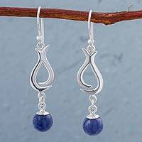 Sodalite dangle earrings, 'Blue Ritual' - Sodalite and Sterling Silver Dangle Earrings from Peru