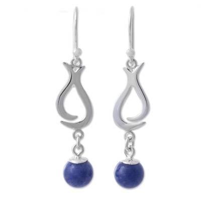Sodalite and Sterling Silver Dangle Earrings from Peru