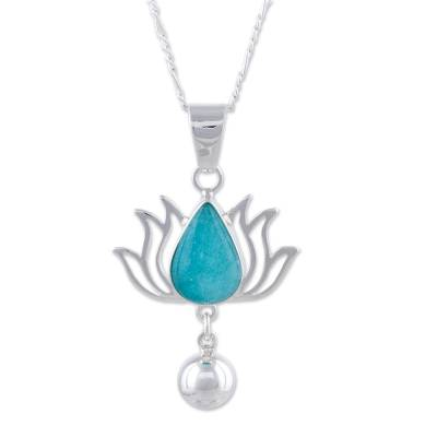 Amazonite and Sterling Silver Flower Necklace from Peru