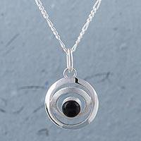 Obsidian pendant necklace, 'To the Moon' - Obsidian and Sterling Silver Pendant Necklace from Peru