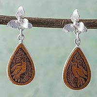 Mate gourd dangle earrings, 'Floral Birds' - Bird Themed Mate Gourd 925 Silver Dangle Earrings from Peru
