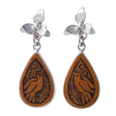 Bird Themed Mate Gourd 925 Silver Dangle Earrings from Peru