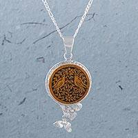 Mate gourd pendant necklace, 'Garden Birds' - Mate Gourd and Sterling Silver Bird Pendant Necklace
