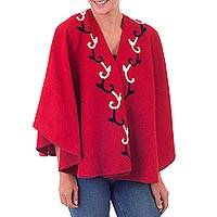 Alpaca blend capelet, 'Cardinal Red Chic' - Cardinal Red Peruvian Capelet Wrap in Soft Alpaca Blend
