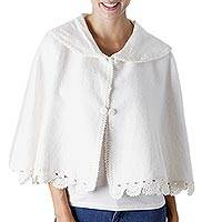 Alpaca blend capelet, 'Snow Breeze' - Ivory Color Soft Alpaca Blend Capelet with Crochet Borders