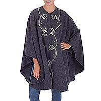 Alpaca blend cape, 'Graphite Mystique' - Original Graphite Grey Alpaca Blend Cape-cum-Ruana from Peru