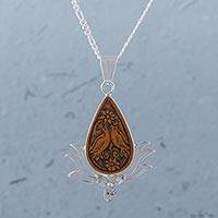 Mate gourd pendant necklace, 'Floral Birds' - Teardrop Mate Gourd and Sterling Silver Pendant Necklace