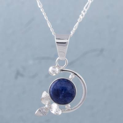 listing il drop pendant necklace sodalite gemstone blue