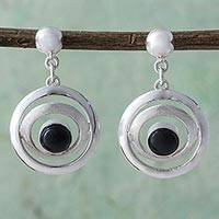 Obsidian dangle earrings, 'To the Moon' - Obsidian and Sterling Silver Dangle Earrings from Peru