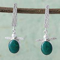 Chrysocolla dangle earrings, 'Flying Turtles' - Chrysocolla and Sterling Silver Turtle Earrings from Peru