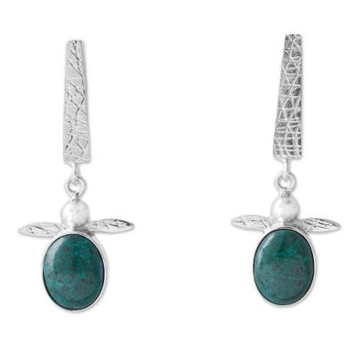 Chrysocolla and Sterling Silver Turtle Earrings from Peru