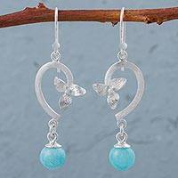 Amazonite flower dangle earrings, 'Looping Flowers' - Amazonite 925 Silver Earrings from Peruvian Flower Jewelry