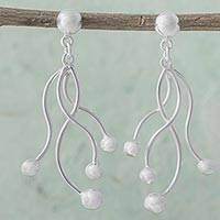 Sterling silver dangle earrings, 'Loving Tendrils' - Modern Design 925 Sterling Silver Earrings from Peru