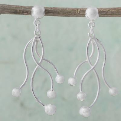 Sterling Silver Dangle Earrings Loving Tendrils Modern Design 925