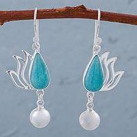 Amazonite dangle earrings, 'Flaming Drops' - Amazonite and Sterling Silver Dangle Earrings from Peru