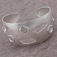 Sterling silver cuff bracelet, 'Parallel Universe' - 925 Sterling Silver Modern Cuff Bracelet from Peru