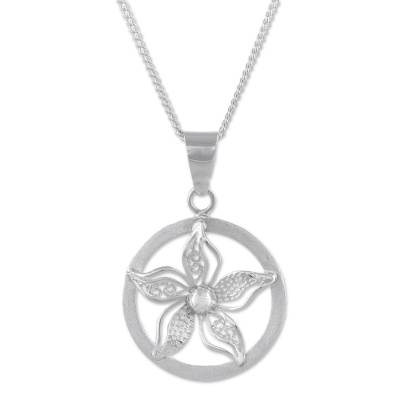 Sterling silver pendant necklace, 'Wintry Bloom' - Sterling Silver Floral Pendant Necklace from Peru