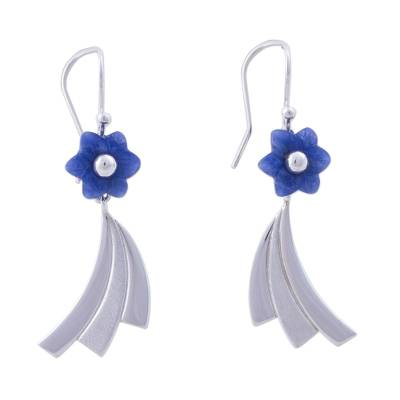 Sodalite and Sterling Silver Floral Dangle Earrings