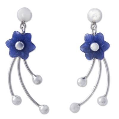 Sodalite flower dangle earrings, 'Blue Little Blooms' - Chrysocolla Floral Dangle Earrings from Peru