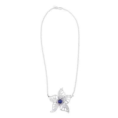 Sodalite pendant necklace, 'Angel's Trumpet' - Sodalite and Sterling Silver Floral Pendant Necklace