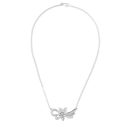 Sterling silver pendant necklace, 'Floral Ties' - Sterling Silver Floral Pendant Necklace from Peru