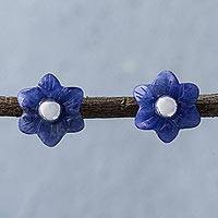 Sodalite flower stud earrings, 'Blue Little Blooms' - Sodalite and Sterling Silver Floral Stud Earrings from Peru