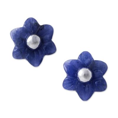 Sodalite flower stud earrings, 'Blue Little Blooms' - Sodalite and Sterling Silver Floral Stud Earrings from Peru