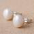 Cultured pearl stud earrings, 'Round Style' - Cultured Pearl and Sterling Silver Stud Earrings from Peru (image 2c) thumbail
