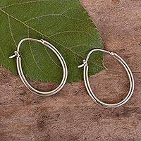 Sterling silver hoop earrings, 'Life Circles' - Oval Hoop Earrings Hand Crafted in 925 Sterling Silver