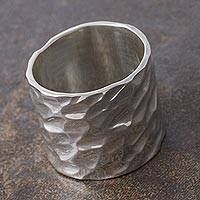 Sterling silver band ring, 'Infinity Terrain'