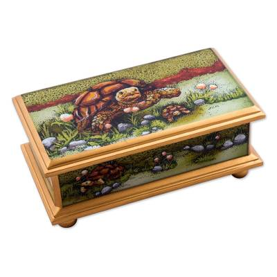 Reverse painted glass decorative box, 'Land Tortoise in Green' - Reverse Painted Glass Decorative Box of a Tortoise from Peru