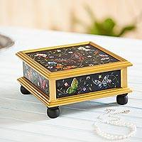 Reverse painted glass decorative box, 'Winter Butterflies in Black' - Reverse Painted Glass Black Decorative Box with Butterflies