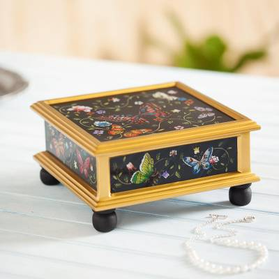 Reverse-painted glass decorative box, 'Midnight Garden' - Black Reverse-Painted Glass Decorative Box with Butterflies