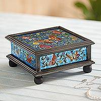 Reverse painted glass decorative box, 'Winter Butterflies in Blue' - Reverse Painted Glass Blue Decorative Box with Butterflies