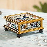 Reverse painted glass decorative box, 'Winter Butterflies in Ivory' - Butterflies on Reverse Painted Glass Square Decorative Box