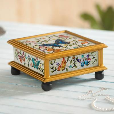 Reverse painted glass decorative box, 'Ivory Winter Butterflies' - Butterflies on an Ivory Reverse Painted Glass Decorative Box