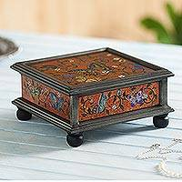 Reverse painted glass decorative box, 'Winter Butterflies in Orange'