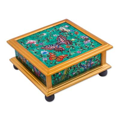 Reverse painted glass decorative box, 'Winter Butterflies in Teal' - Reverse Painted Glass Teal Box with Multicolor Butterflies